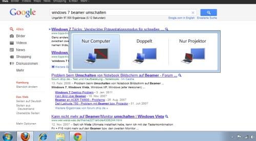 Beamer umschalten unter Windows 7