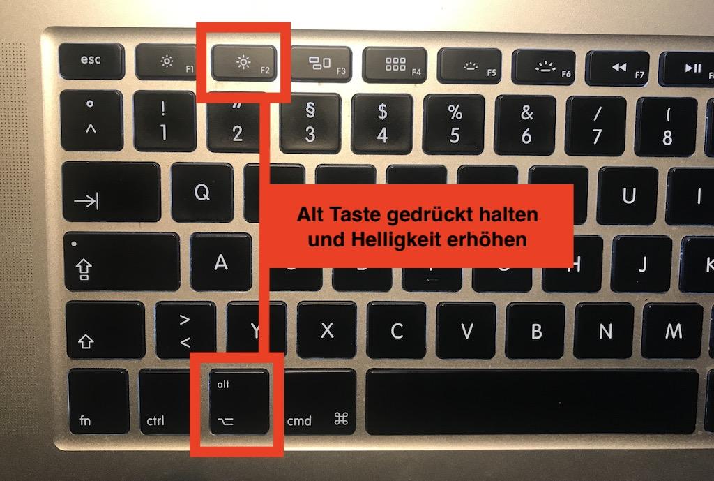 Mac Monitor Tastaturkürzel (Alt + Helligkeit)
